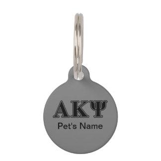 Alpha Kappa Psi Black Letters Pet Name Tags