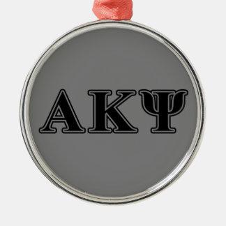 Alpha Kappa Psi Black Letters Metal Ornament