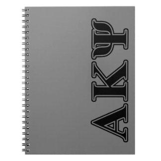 Alpha Kappa Psi Black Letters Notebook