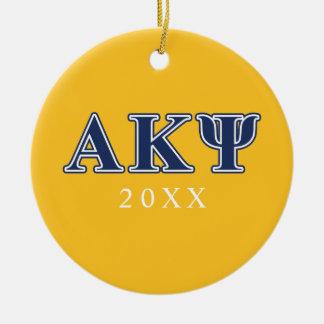 Alpha Kappa Psi Navy Letters Ceramic Ornament