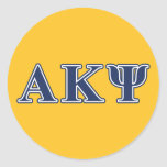 Alpha Kappa Psi Navy Letters Classic Round Sticker