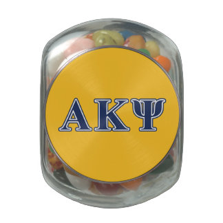 Alpha Kappa Psi Navy Letters Glass Candy Jars