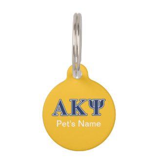 Alpha Kappa Psi Navy Letters Pet Name Tags