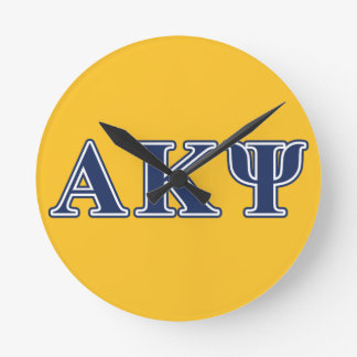 Alpha Kappa Psi Navy Letters Round Clocks
