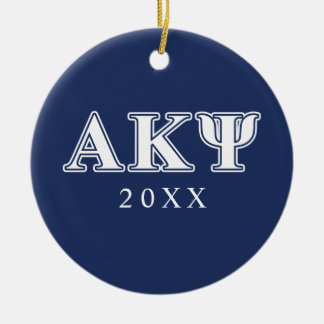 Alpha Kappa Psi White and Navy Letters Ceramic Ornament