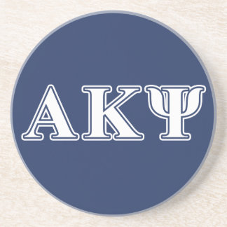 Alpha Kappa Psi White and Navy Letters Drink Coaster