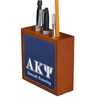 Alpha Kappa Psi White and Navy Letters Pencil/Pen Holder