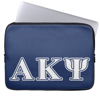 Alpha Kappa Psi White and Navy Letters Laptop Computer Sleeves