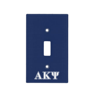Alpha Kappa Psi White and Navy Letters Light Switch Cover