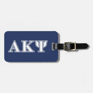 Alpha Kappa Psi White and Navy Letters Travel Bag Tag