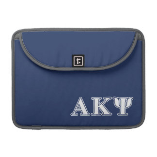 Alpha Kappa Psi White and Navy Letters MacBook Pro Sleeves