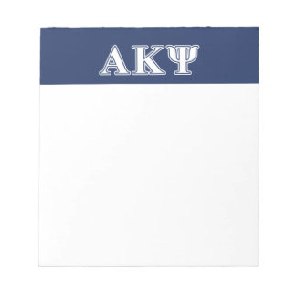 Alpha Kappa Psi White and Navy Letters Memo Note Pads