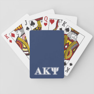 Alpha Kappa Psi White and Navy Letters Deck Of Cards