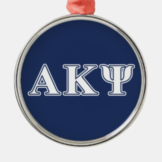 Alpha Kappa Psi White and Navy Letters Round Metal Christmas Ornament