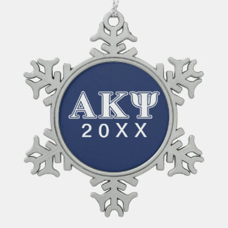 Alpha Kappa Psi White and Navy Letters Ornaments