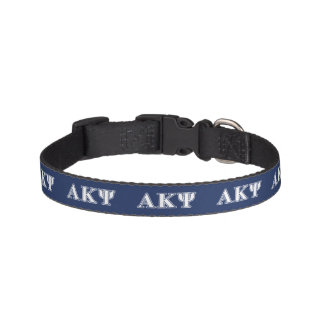 Alpha Kappa Psi White and Navy Letters Pet Collars