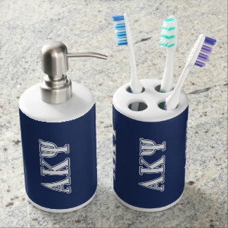 Alpha Kappa Psi White and Navy Letters Bath Accessory Sets