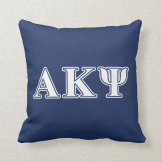 Alpha Kappa Psi White and Navy Letters Throw Pillow