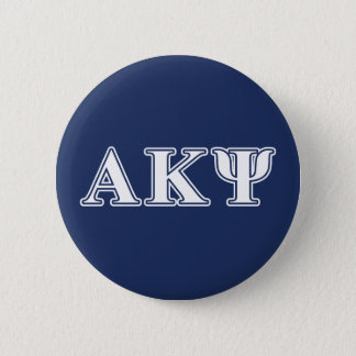 Alpha Kappa Psi White and Navy Letters Pinback Button