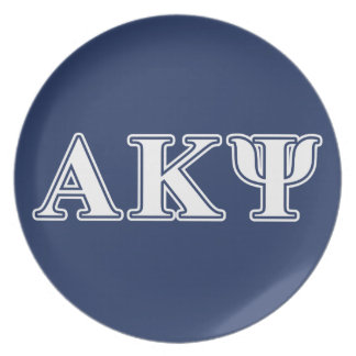 Alpha Kappa Psi White and Navy Letters Dinner Plates