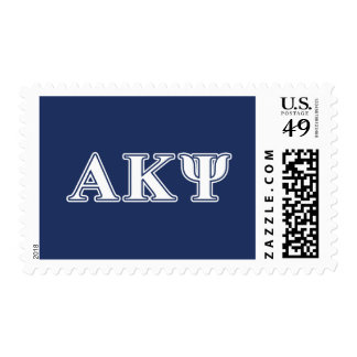 Alpha Kappa Psi White and Navy Letters Postage