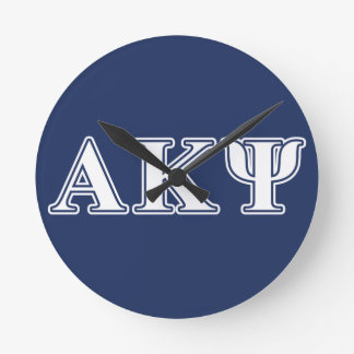 Alpha Kappa Psi White and Navy Letters Wall Clocks
