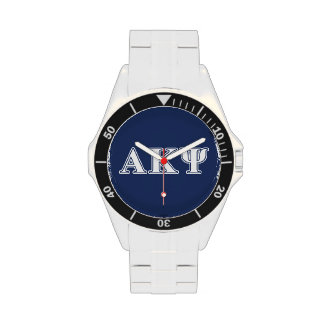 Alpha Kappa Psi White and Navy Letters Watches