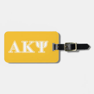 Alpha Kappa Psi White and Yellow Letters Bag Tags