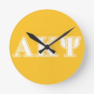 Alpha Kappa Psi White and Yellow Letters Round Clock