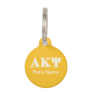 Alpha Kappa Psi White and Yellow Letters Pet Name Tags