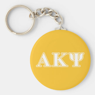 Alpha Kappa Psi White and Yellow Letters Key Chain