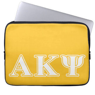 Alpha Kappa Psi White and Yellow Letters Laptop Computer Sleeve