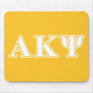 Alpha Kappa Psi White and Yellow Letters Mousepads
