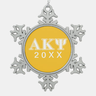 Alpha Kappa Psi White and Yellow Letters Ornaments