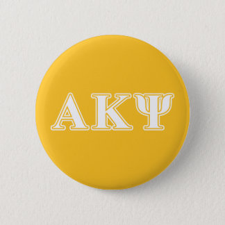 Alpha Kappa Psi White and Yellow Letters Pinback Button