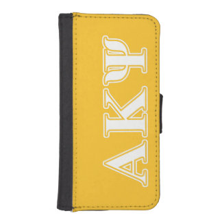 Alpha Kappa Psi White and Yellow Letters Phone Wallets
