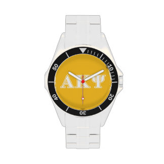 Alpha Kappa Psi White and Yellow Letters Wristwatch