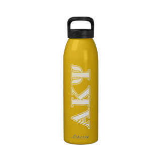 Alpha Kappa Psi White and Yellow Letters Drinking Bottles