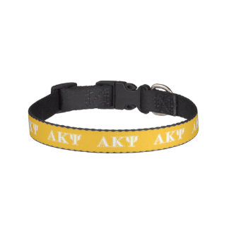Alpha Kappa Psi White and Yellow Letters Pet Collars