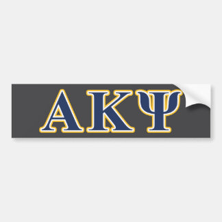 Alpha Kappa Psi Yellow and Navy Letters Bumper Stickers