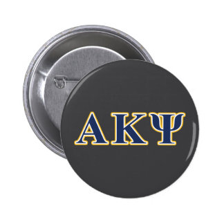Alpha Kappa Psi Yellow and Navy Letters Button