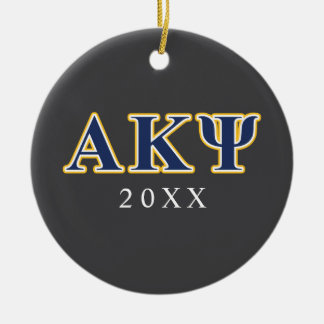 Alpha Kappa Psi Yellow and Navy Letters Ceramic Ornament