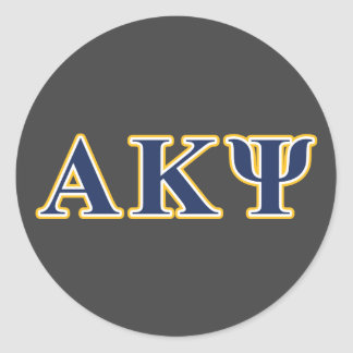 Alpha Kappa Psi Yellow and Navy Letters Classic Round Sticker