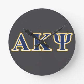 Alpha Kappa Psi Yellow and Navy Letters Round Clock