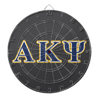 Alpha Kappa Psi Yellow and Navy Letters Dart Board
