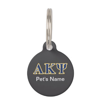 Alpha Kappa Psi Yellow and Navy Letters Pet Nametag