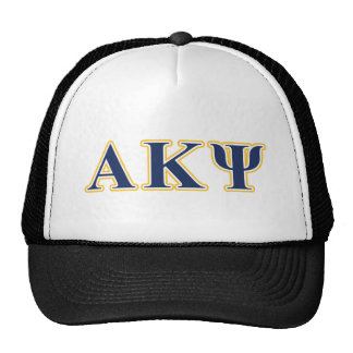 Alpha Kappa Psi Yellow and Navy Letters Mesh Hats