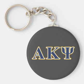 Alpha Kappa Psi Yellow and Navy Letters Key Chain