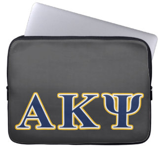 Alpha Kappa Psi Yellow and Navy Letters Laptop Computer Sleeves