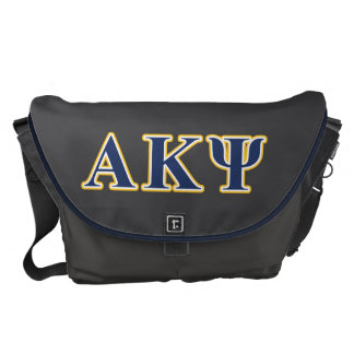 Alpha Kappa Psi Yellow and Navy Letters Messenger Bags